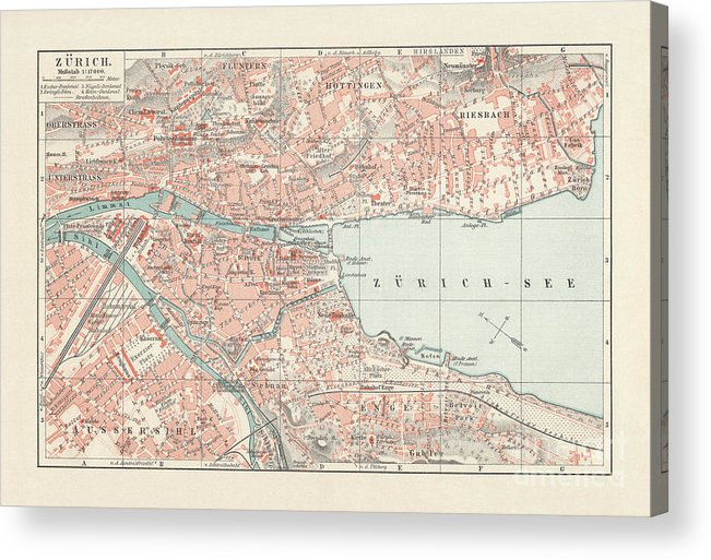Engraving Acrylic Print featuring the digital art City Map Of Zurich, Largest City by Zu 09