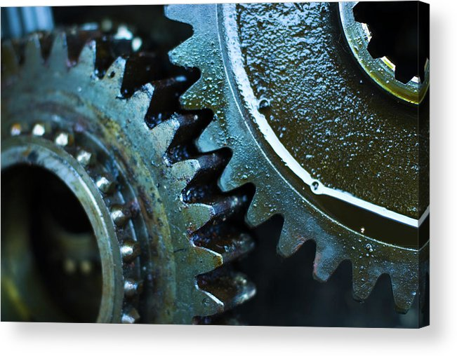 Teamwork Acrylic Print featuring the photograph Close Up Of Greasy And Oily Gears by Sndrk