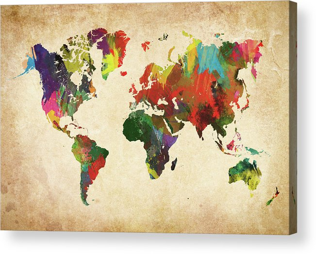 Art Acrylic Print featuring the photograph Colored World Map Xxxl by Sorendls