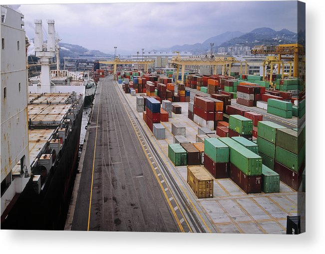Freight Transportation Acrylic Print featuring the photograph Container Shipping, Port Of Genoa, Italy by Alberto Incrocci