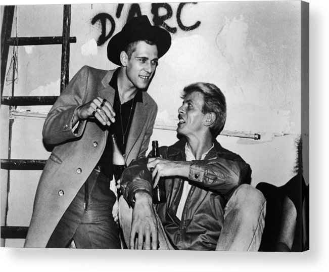 Rock Music Acrylic Print featuring the photograph David Bowie Drinks With Paul Simonon by Hulton Archive