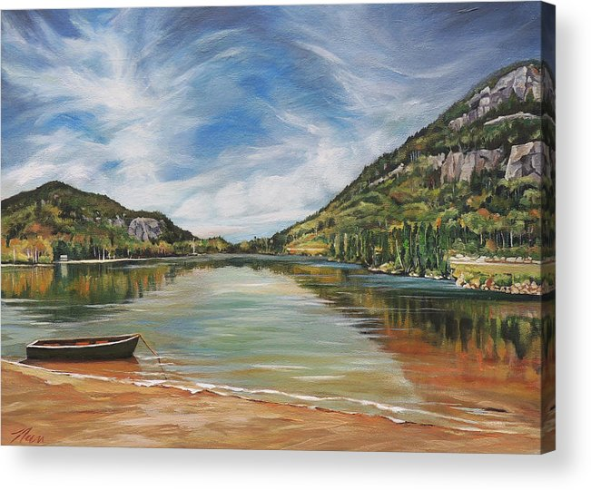 Echo Lake Acrylic Print featuring the painting Echo Lake in Franconia Notch New Hampshire by Nancy Griswold
