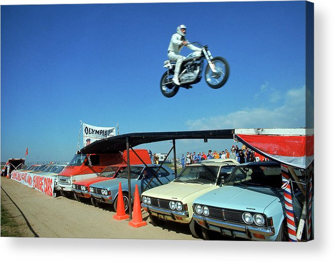 Timeincown Acrylic Print featuring the photograph Evel Knievel In Flight by Ralph Crane