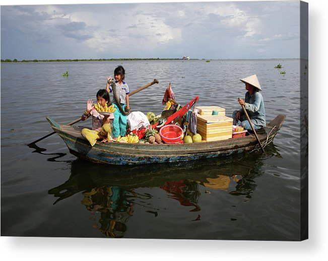Child Acrylic Print featuring the photograph Family & Snake Sell Wares On Tonle by Rosemary Calvert