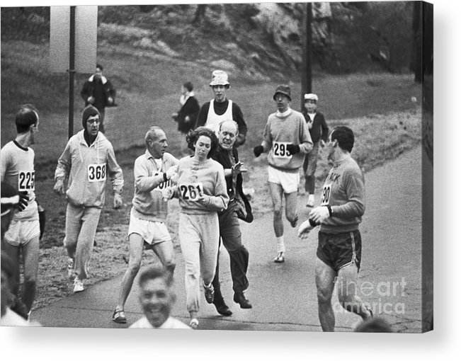 Mature Adult Acrylic Print featuring the photograph First Women In Boston Marathon by Bettmann