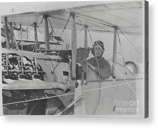 People Acrylic Print featuring the photograph Flyer In Aircraft Cockpit by Bettmann