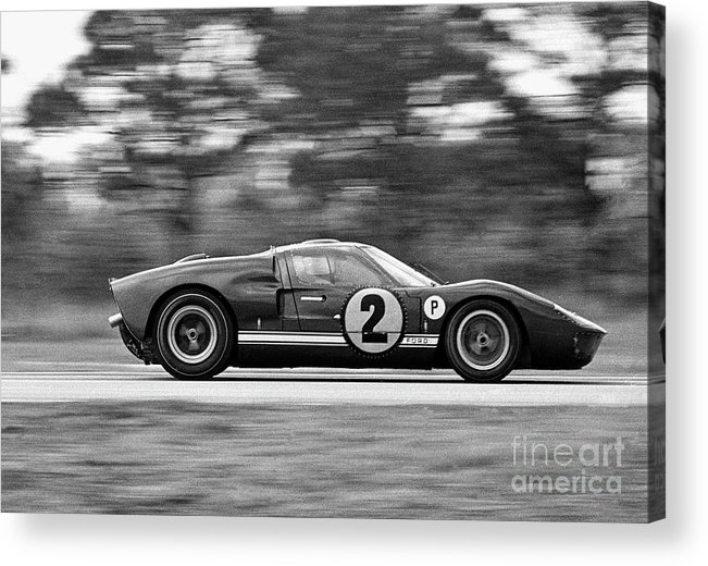 People Acrylic Print featuring the photograph Ford Prototype Racecar On Track by Bettmann