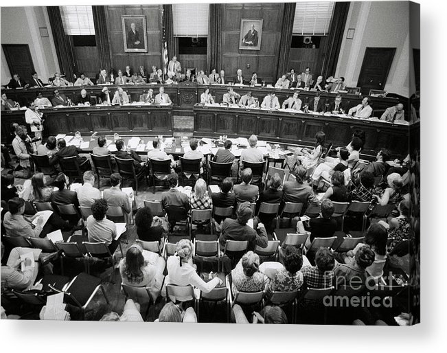 People Acrylic Print featuring the photograph House Judiciary Committee Meeting by Bettmann