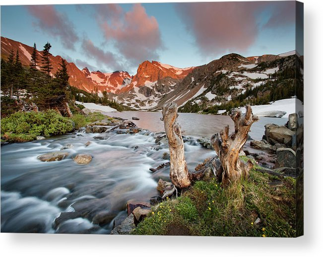 Alpenglow Acrylic Print featuring the photograph Indian Peaks Wilderness Lake Isabelle by Kjschoen