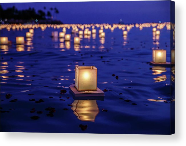 Honolulu Acrylic Print featuring the photograph Japanese Floating Lanterns by Julie Thurston
