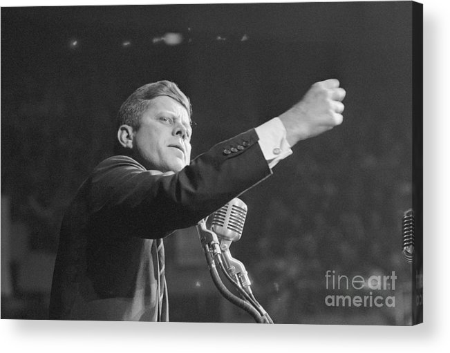 Nominee Acrylic Print featuring the photograph John Kennedy Clenching His Fist by Bettmann