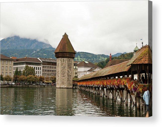 Scenics Acrylic Print featuring the photograph Kapellbrucke On Reuss River, Lucerne by Cultura Rf/rosanna U