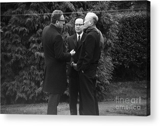 Vietnam War Acrylic Print featuring the photograph Kissinger And Le Duc Tho Talk by Bettmann