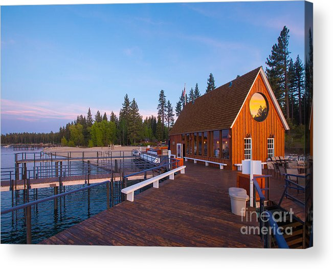 Lake Acrylic Print featuring the photograph Lake Tahoe Cabin on the Lake Sunset by Eddie Hernandez