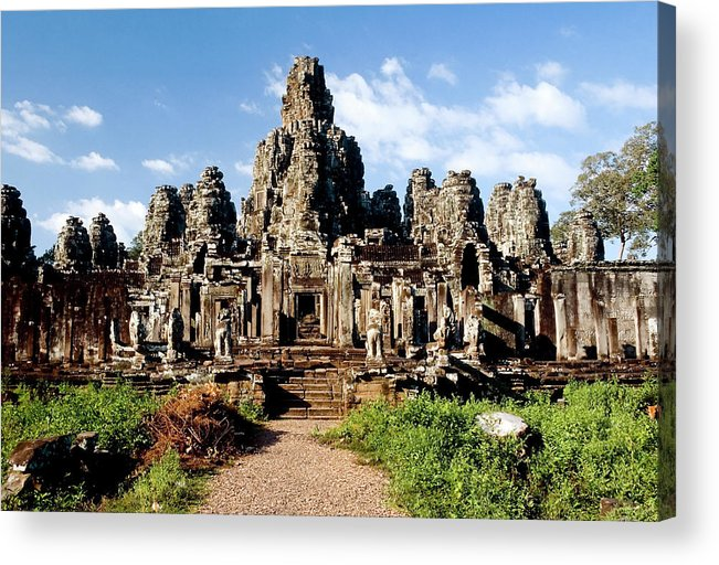 Scenics Acrylic Print featuring the photograph Landscape Photo Of Bayon Temple In by Laughingmango