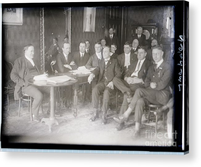 Employment And Labor Acrylic Print featuring the photograph Leaders At Steel Strike Meeting by Bettmann