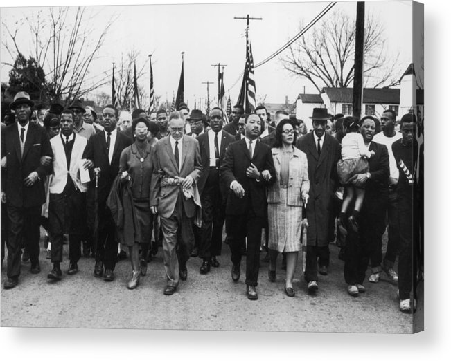 Marching Acrylic Print featuring the photograph Luther King Marches by William Lovelace