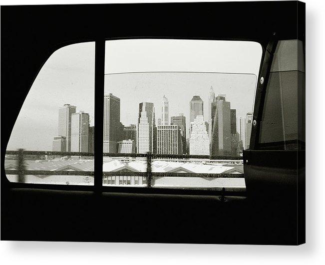 Car Interior Acrylic Print featuring the photograph Manhattan Through Car Window by Matt Carr