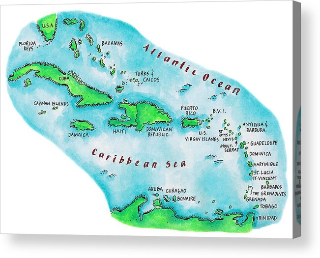 Watercolor Painting Acrylic Print featuring the digital art Map Of Caribbean Islands by Jennifer Thermes