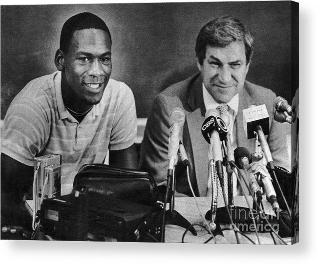 1980-1989 Acrylic Print featuring the photograph Michael Jordan And Coach Dean Smith by Bettmann