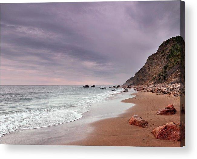 Water's Edge Acrylic Print featuring the photograph Mohegan Bluffs Beach- Block Island by Shobeir Ansari