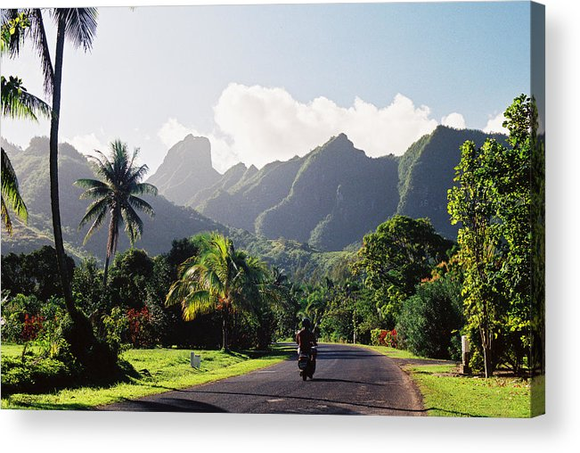 Shadow Acrylic Print featuring the photograph Motorcyclist On Polynesian Road by Ejs9