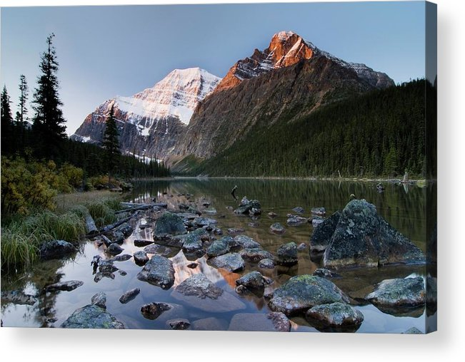 Scenics Acrylic Print featuring the photograph Mount Edith Cavell And Cavell Lake by Design Pics/philippe Widling