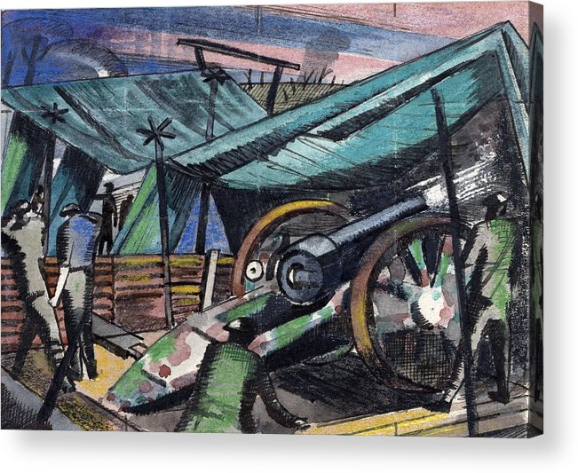 B1019 Acrylic Print featuring the painting A Howitzer Firing, 1918 by Paul Nash
