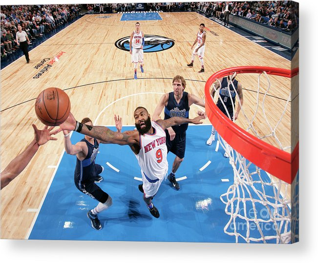Nba Pro Basketball Acrylic Print featuring the photograph New York Knicks V Dallas Mavericks by Glenn James
