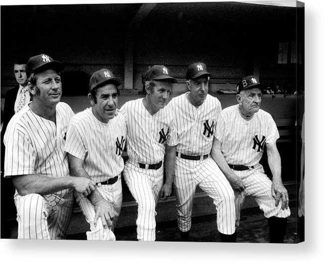 American League Baseball Acrylic Print featuring the photograph New York Yankees Hall Of Famers At Old by New York Daily News Archive