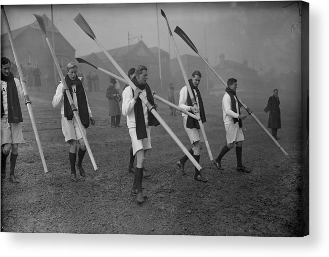 1930-1939 Acrylic Print featuring the photograph Oxford Boat Crew by J. A. Hampton