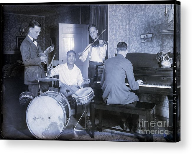 People Acrylic Print featuring the photograph Pancho Villa Playing Drums Wmusicians by Bettmann