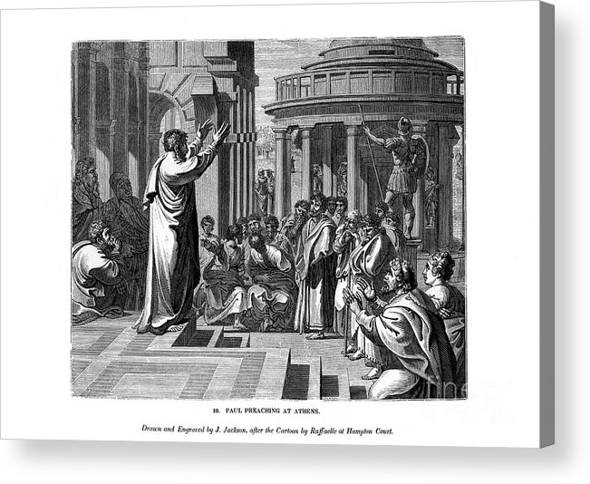 Engraving Acrylic Print featuring the drawing Paul Preaching At Athens, 1843.artist J by Print Collector