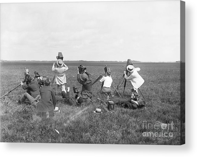 People Acrylic Print featuring the photograph Photographers On Ground Taking Pictures by Bettmann