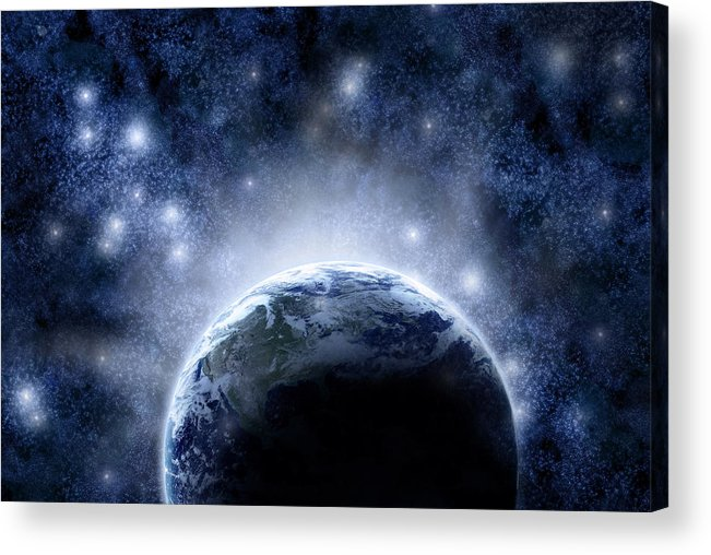 Outdoors Acrylic Print featuring the digital art Planet Earth And Stars by Nicholas Monu