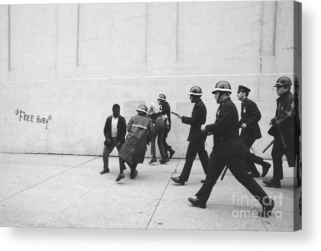 Marching Acrylic Print featuring the photograph Police And Students Clashing by Bettmann