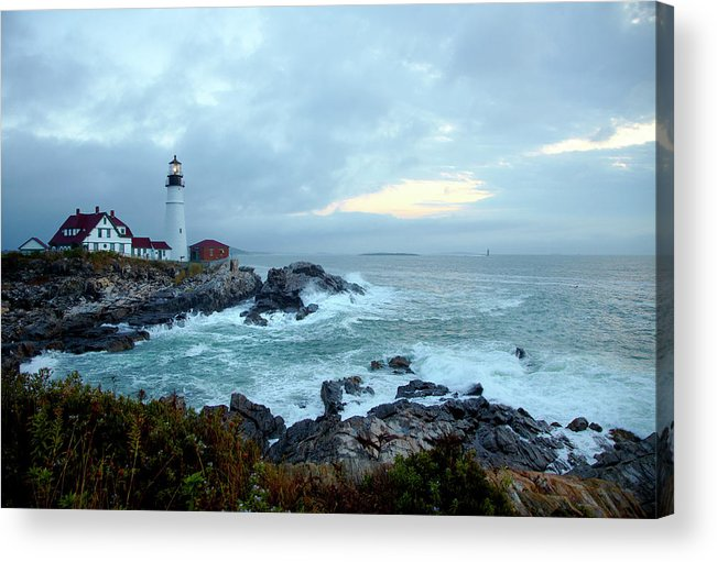 Dawn Acrylic Print featuring the photograph Portland Head Lighthouse At Sunrise by Thomas Northcut