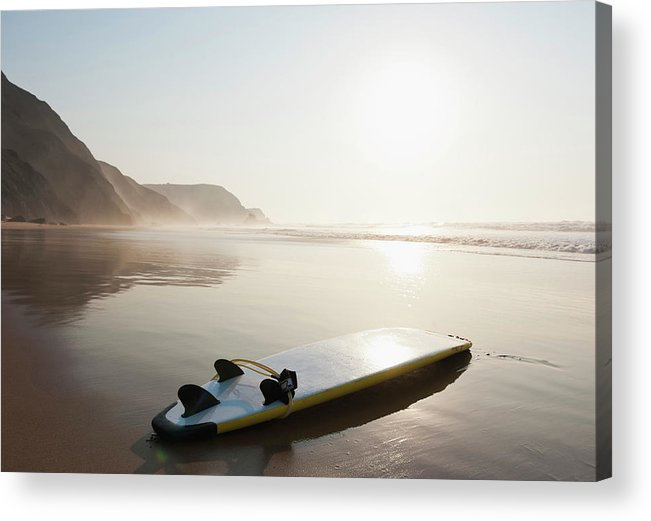 Algarve Acrylic Print featuring the photograph Portugal, Surfboard On Beach by Westend61