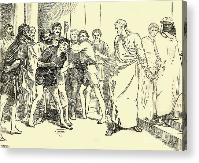 Engraving Acrylic Print featuring the drawing Posthumius In The Theatre At Tarentum by Print Collector
