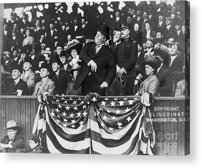 Mature Adult Acrylic Print featuring the photograph President Taft Throwing The First Pitch by Bettmann