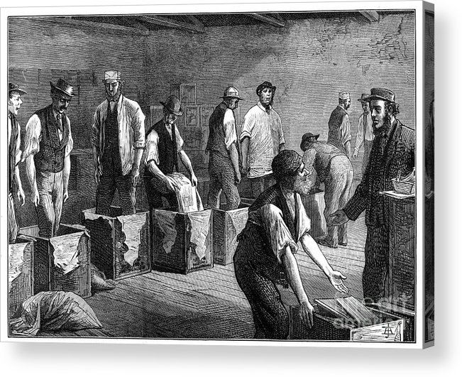 Working Acrylic Print featuring the drawing Refilling Chests In A Tea Warehouse by Print Collector