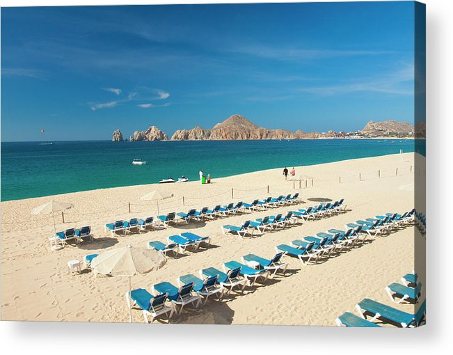 Water's Edge Acrylic Print featuring the photograph Resort Beach Chairs by Christopher Kimmel