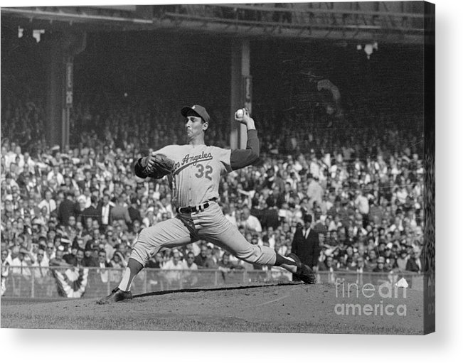 Sandy Koufax Acrylic Print featuring the photograph Sandy Koufax Pitching In World Series by Bettmann