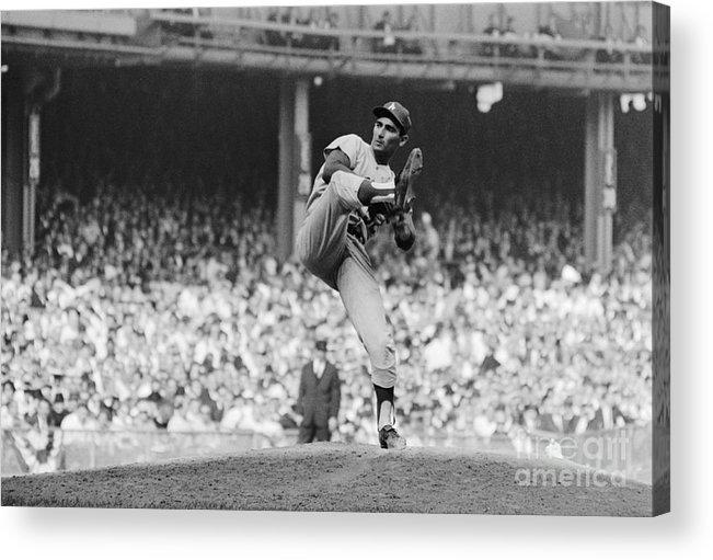 Sandy Koufax Acrylic Print featuring the photograph Sandy Koufax Throwing Pitch In World by Bettmann