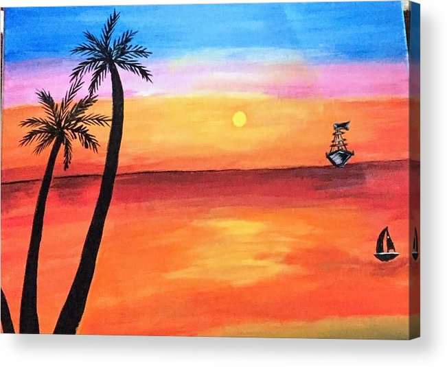 Canvas Acrylic Print featuring the painting Scenary by Aswini Moraikat Surendran