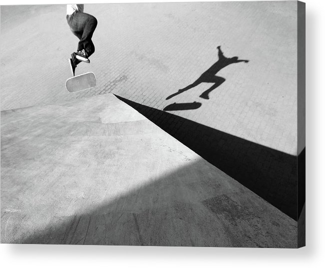Shadow Acrylic Print featuring the photograph Shadow Of Skateboarder by Mgs