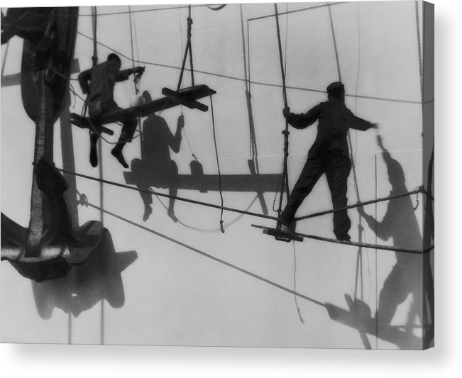 Shadow Acrylic Print featuring the photograph Shadows & Silhouttes Of Shipyard by J. Kauffmann