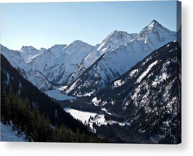 Tranquility Acrylic Print featuring the photograph Snowy Meadow  Lake by By Andreas Metz