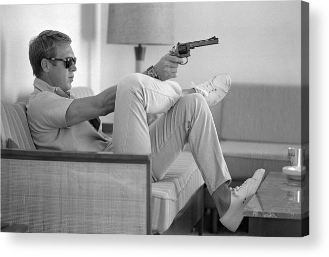 Timeincown Acrylic Print featuring the photograph Steve Mcqueen Takes Aim by John Dominis