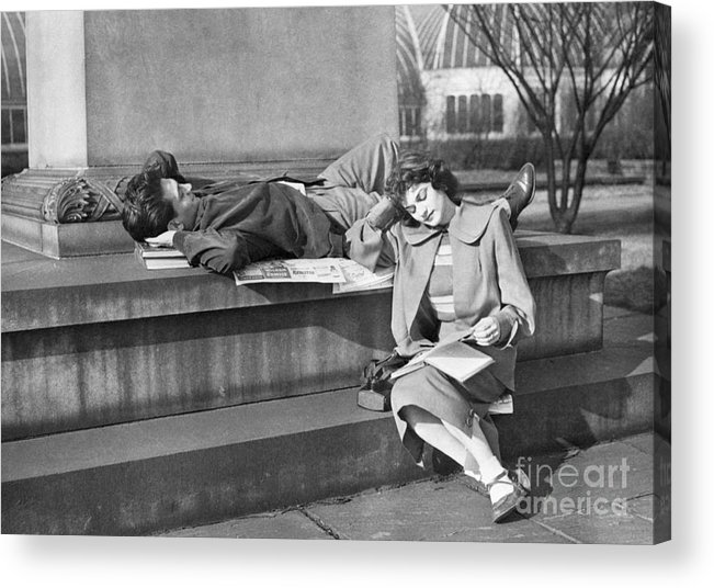 Education Acrylic Print featuring the photograph Students Study Outdoors In Warm Sun by Bettmann